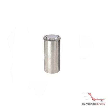 Lixeira em aluminio 25 lts flip top  2037
