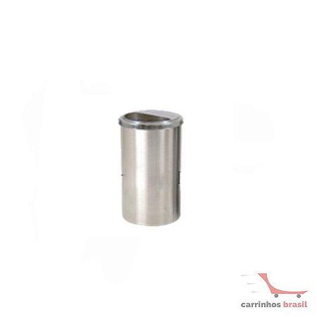 Lixeira em aluminio 25 lts meia lua inox  2035
