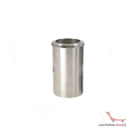 Lixeira em aluminio 25 lts aro inox  2033