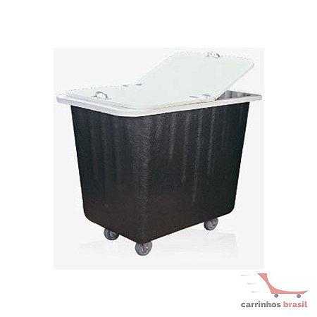 Carro lavanderia em fibra de vidro 200 lt com tampa