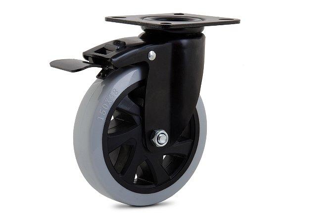 Rodinha giratoria 100mm Black com freio