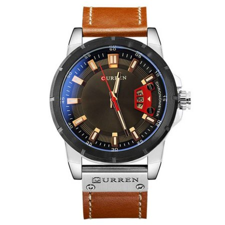 Relógio Masculino Curren Analógico luxo 8284- Prata e Marrom