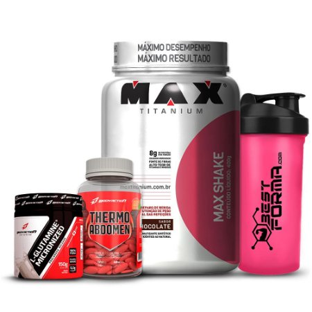 Kit Emagrecimento Max/Body - Max Shake + Thermo Abdomen + L-Glutamina