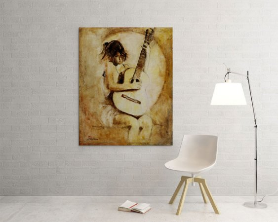 Quadro Decorativo Tela Soft Guitar 100 x 80 cm