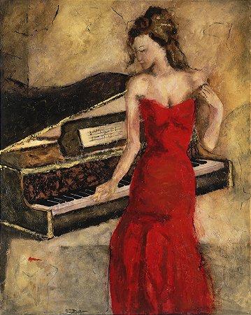 Arte Contemporânea Tela Cintia in Red 80 x 60 cm