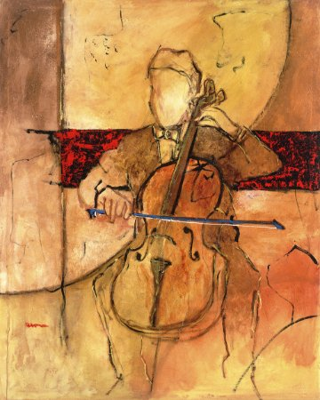 Arte Contemporânea Tela Great Cello 80 x 60 cm