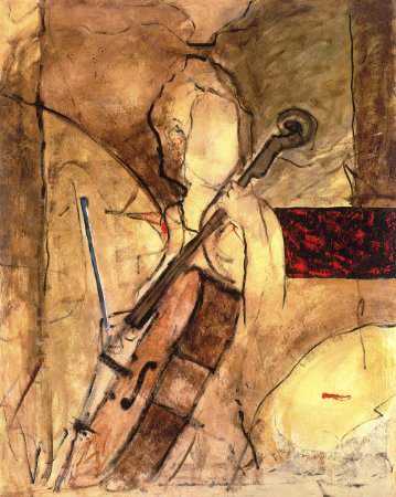 Arte Contemporânea Tela Old Cello 80 x 60 cm