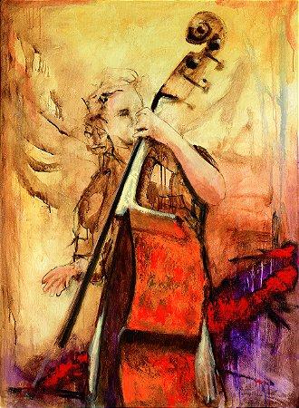 Arte Contemporânea Tela Powerful Cello 80 x 60 cm