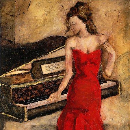 Gravura Coleção Música 30 x 30 cm Cintia in Red