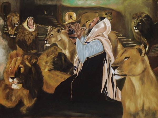 Obra Original Pintura sobre Tela, Daniel na Cova dos Leões, Óleo, 75 x 100 cm