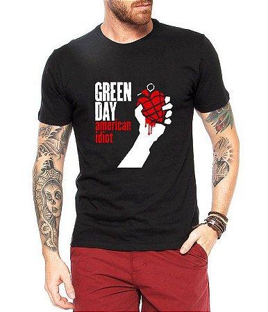 Camiseta Green Day American Idiot Masculina Preta