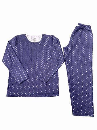 Pijama Flanelado Infantil Azul Bolinha Menina