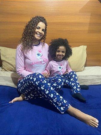 """Pijama Infantil  Com calça Mãe & Filha - """"Made of Stars"""""""