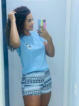 "Pijama shorts e camiseta azul ""Super Cute Forever"""
