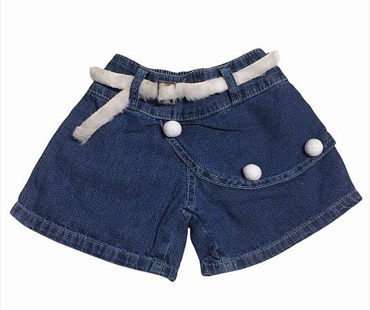 Short Jeans Infantil com Pompom