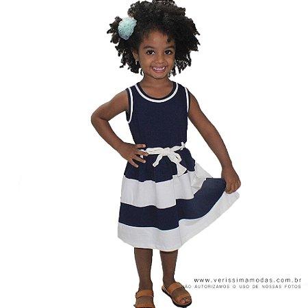 Vestido VIP Infantil Azul com Listras Brancas