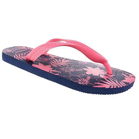 Chinelo Havaianas Color Floral Rosa/Marinho