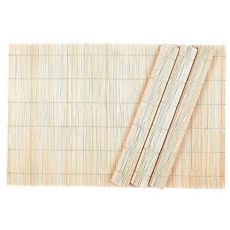 Jogo Americano Cozinha Em Bambu Cru 3 Peças 30 X 45 Rústico