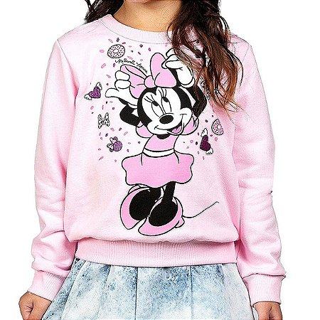 Blusa Moletom infantil com Estampa Efeito Glitter Rosa