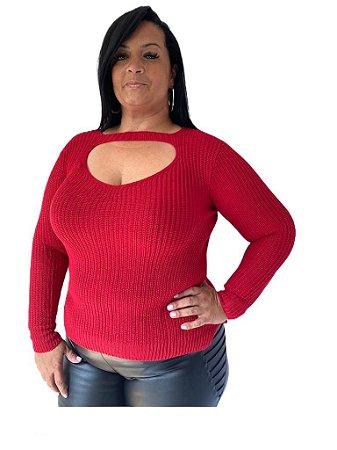 Blusa tricot abertura frontal - Plus Size
