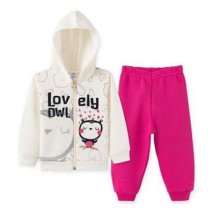 Conjunto Moletom Infantil  Bege Lovely Owl e Calça Pink