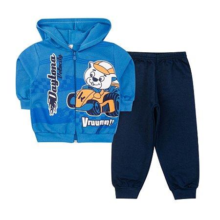 Conjunto Moletom Bebê Daytona  Azul