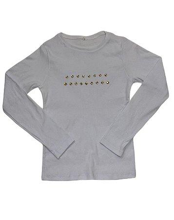 Blusa manga longa infantil branca Pedra Dourada