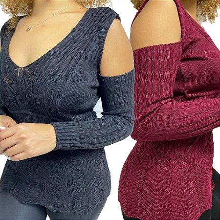 COMBO de 2 - Blusas Tricot com Abertura no Ombro
