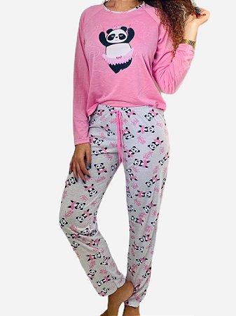 Pijama Com Calça e Blusa Urso Panda