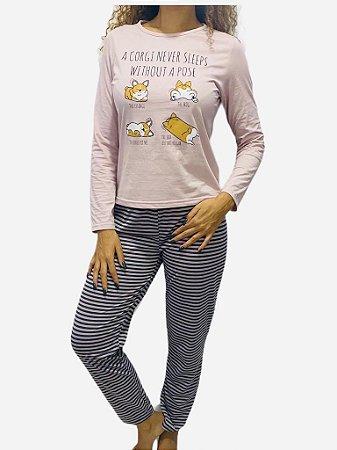 Pijama Adulto manga longa e calça Sleeps