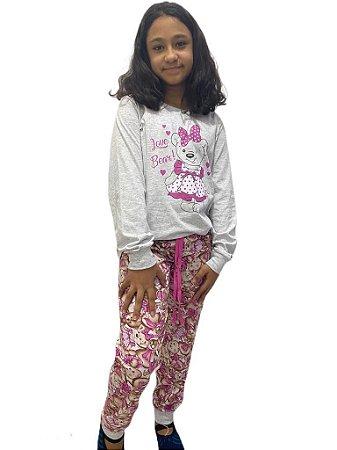 Pijama infantil manga longa suede e calça ursinha