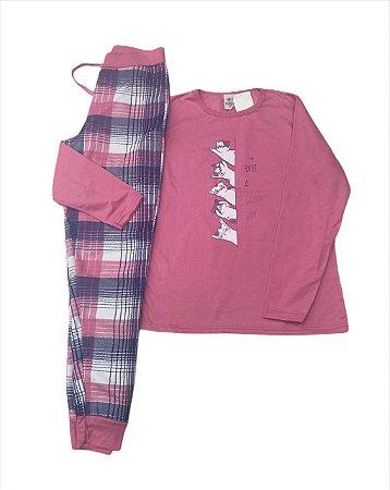 Pijama flanelado adulto gatinhos