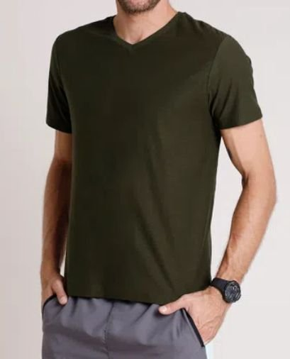 Camisetas Basicas gola V adulto masculino