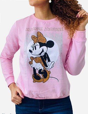 Blusão Moletom adulto Minnie Rosa
