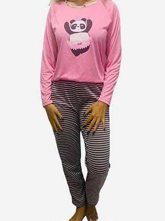 Pijama Adulto Panda manga longa e calça listrada