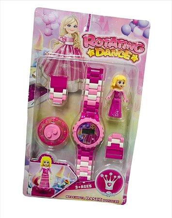 Relógio digital infantil monta monta rosa e azul