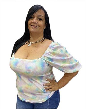 Blusa adulto Tie Dye com manga bufante