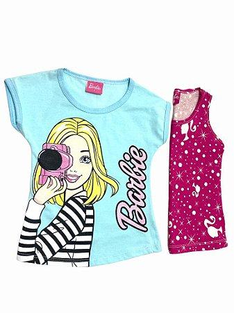 Kit Camiseta/Regata Barbie Infantil