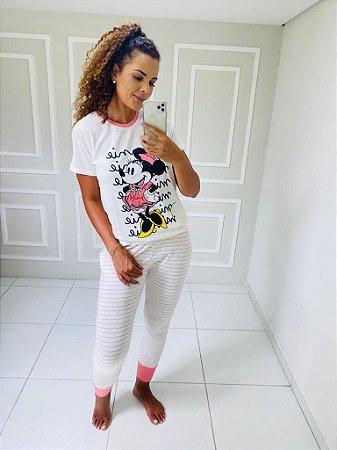 Pijama Minnie com Calça Listrada