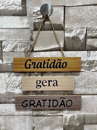 """Plaquinha Decorativa Frase """" Gratidão gera gratidão"""""""