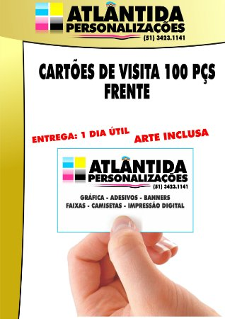 Cartão de visita 100 pç 4X0 (Frente) Impressão laser - Couchê 250 gr