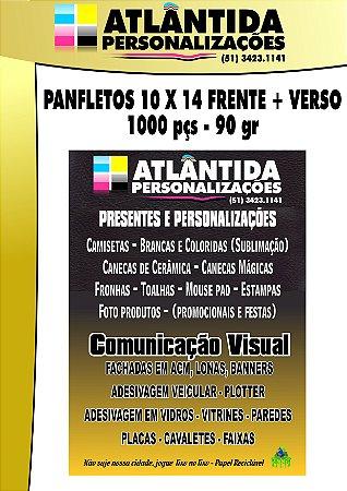 Panfletos 14X10 cm  - 1000 un. Frente/Verso
