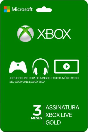 Cartão XBOX LIVE 03 Meses Brasil - Código Digital