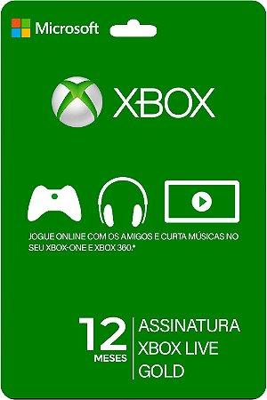 Cartão XBOX LIVE GOLD 12 Meses Brasil - Código Digital