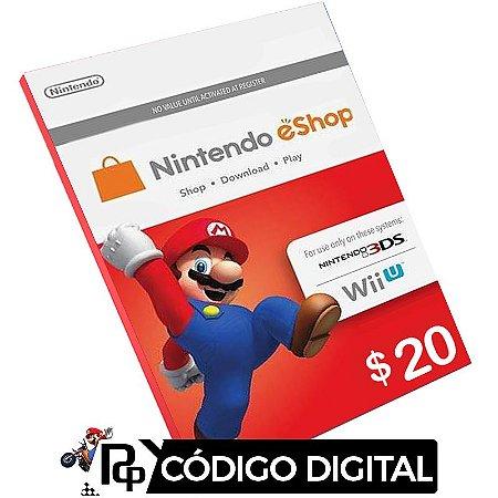 Cartão Nintendo E-Shop $20 Dólares - 3DS / Switch/ Wii U