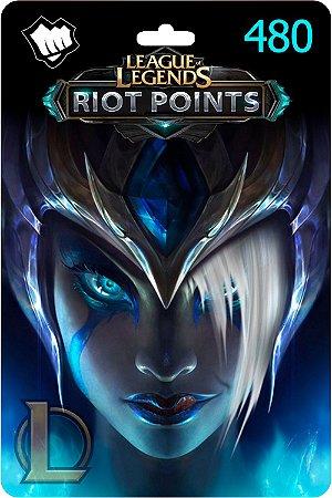 Cartão League Of Legends 480 Riot Points Lol Rp Br - Código Digital
