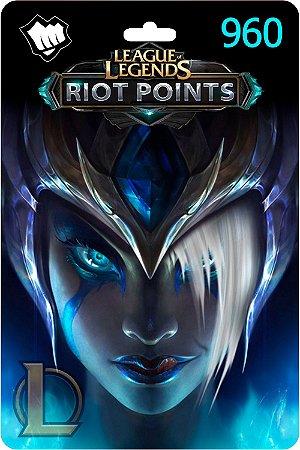 Cartão League Of Legends 960 Riot Points Lol Rp Br - Código Digital