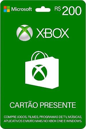 Cartão Presente Xbox R$ 200 Reais Brasil Gift Card - Código Digital