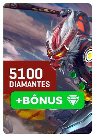 Cartão Garena Free Fire 5100 + 10% Bônus! 5610 Diamantes - Recarga na Conta