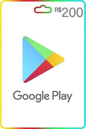 Cartão Google Play Brasil R$200 Reais Vale Presente - Código Digital